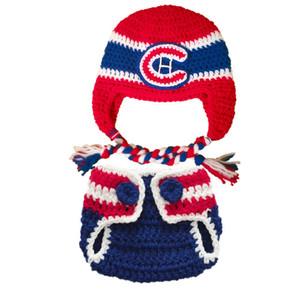 Häkeln Sie Hockey Baby Outfit handgemachte Häkelarbeit Baby Boy Girl Hockey Hut und Windel Cover Set Infant Kleinkind Foto Prop Baby Shower Geschenke