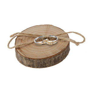 Ring pillows Wedding Ring Bearer Slice Rustic Wooden Ring Holder Wedding supplies with Burlap Creative Retro Wedding Decoration WT40