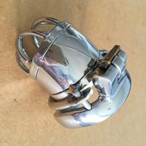 """Projeto o mais novo Comprimento total 65mm Aço Inoxidável Pequeno Dispositivo de Castidade Masculino anti-off versão 2.56 """"Gaiola Curta Galo Para BDSM"""