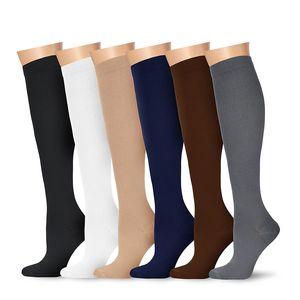 6 pares joelho meias de compressão de alta graduação para mulheres e homens - melhores meias de vôo de enfermagem de enfermagem médica - executando a aptidão - 15-20 mm