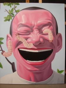 Обрамленная, Улыбающееся лицо, Чистая Ручная роспись Юэ-Миньцзюнь Портретная живопись маслом на высококачественном толстом холсте для декора стен в нескольких размерах R45