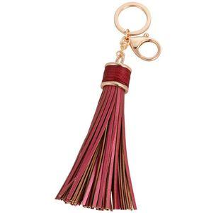 Einfache Luxus PU Leder Quasten Schlüsselanhänger Frauen Keychain Tasche Anhänger Legierung Auto Schlüsselanhänger Ring Halter Retro Schmuck Llavero