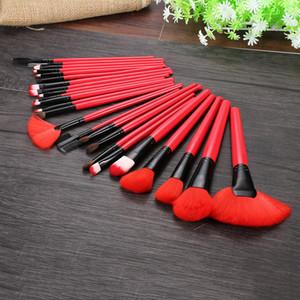 Kit de pinceaux de maquillage supérieur 24pcs Pincel Maquiagem souple Application complète + Sac en cuir d'unité centrale Deep Red Make Up Brushes Combinaison