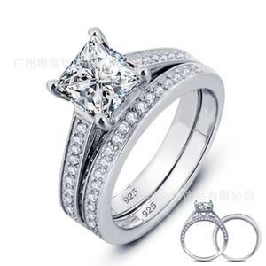 Novo! Real 925 Sterling Silver Ring Set para As Mulheres Princesa Corte Conjuntos de Anel de Casamento Jóias N60