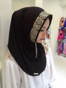 Donne musulmane Sciarpa con blingbling stampa fiori ricamati Turban pizzo headcloth mussola stile folk multicolore hijab drop shipping