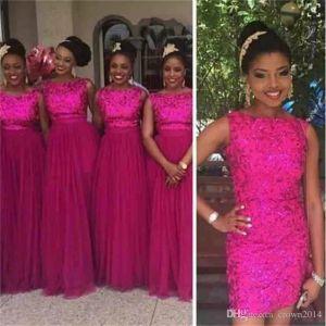 Rose Red Lantejoulas Vestidos de Dama de Honra 2017 Com Removível Saia Longa Festa De Casamento De Tule Convidado Vestido Nigeriano Estilo Africano Plus Size