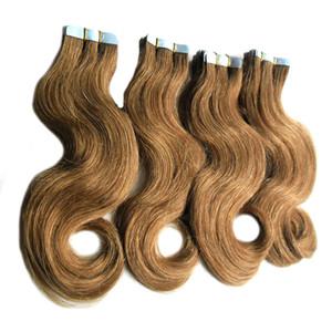 버진 테이프 헤어 익스텐션 indian # 6 Medium Brown 접착 테이프 (머리카락 80 개) Body Wave seamless tape in human hair extensions 200g