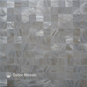 Pure white 100% natural Chinese freshwater shell seamless mother of pearl mosaic tile for kithen and washroom decoration wall tile 25x25mm