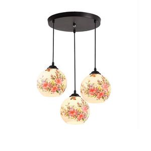 OOVOV Painted Glass Dining Room 펜던트 조명 패션 주방 발코니 카페 바 펜던트 램프 샹들리에 중국 스타일