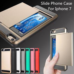 Samsung S8 Verus Armure Téléphone Case Slide Card Slot Couverture de Téléphone Pour Iphone 7 Plus Iphone 6s / 6 Plus Samsung Galaxy S7 S6 bord HUAWEI P8