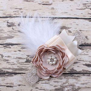 Wholesale- Newborn Feathers Headband Baby Girl Headband Flower Hair Bow Toddler Kids Hair Accessories Photography Prop