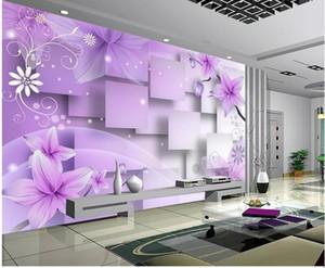 Decoración para el hogar Sala de estar Arte Natural Flores de color púrpura cálida TV mural de la pared papel tapiz 3d Papeles de pared 3d para el telón de fondo de la televisión