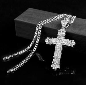 핫 레트로 실버 십자가 매력 펜던트 전체 아이스 아웃 CZ 시뮬레이션 다이아몬드 가톨릭 십자가 펜던트 목걸이 긴 쿠바 체인과 함께