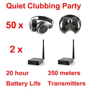500m de distância profissional Silent Disco 50 Folding Headphones 2 transmissores - RF Sem Fio Para iPod MP3 DJ Music