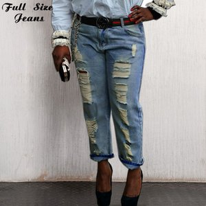 Wholesale- 26 54 6XL 7XL 4XL Boyfriend Loose Ripped Jeans Fall Fashion Loose Ripped Denim Jeans For Woman Plus Size Harem Jeans For Ladies
