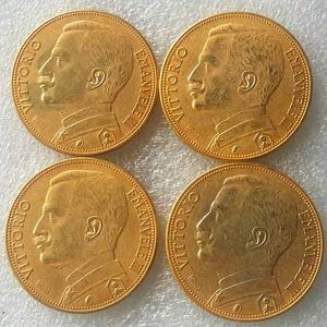 Italien 100 Lire (Fälschungen sind möglich) 1910 1912 1926 1927 4 stücke münzen Gold Copy Coin dekoration zubehör günstige fabrik preis