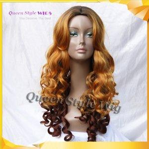 Neueste Frisur Perücke synthetische dunkle Wurzeln Ombre goldenes Gelb dann dunkle braune Farbe große lockige Wellen-Haar-Perücken Tatsächliches Bilderscheinen