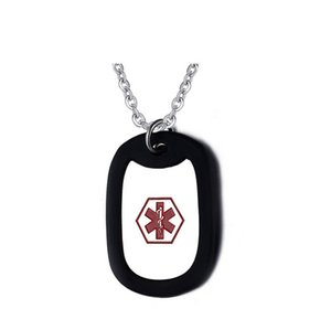 2017 Schwarz Edelstahl Medical Alert ID Halskette für Frauen Männer Schmuck PN-242