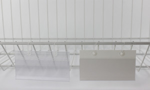 Sign case price tag cover PVC Plastic Price Tag Label Display Holder By Hanging buckle on Mesh Rack Basket Shelf
