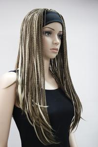 고품질의 패션 브라운 머리띠와 3/4 가발 혼합 스트레이트 긴 땋은 절반 Braids 여자의 가발