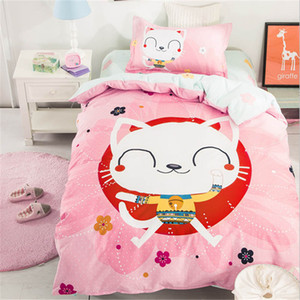 2017 top-level algodão conjunto de cama dos desenhos animados das Crianças lençol / capa de edredão / fronha 3 pçs / set Têxtil de casa frete grátis
