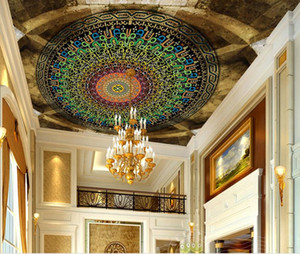 custom 3d ceiling Colorful English circle circle 3d wallpaper for ceilings wallpapers for living room 3d ceiling