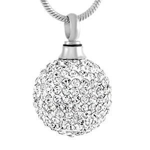Cristal clair boule en acier inoxydable pendentif crémation collier mémoire funéraire cendres souvenir urne collier bijoux