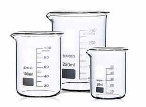 Venta al por mayor- 100 + 150 + 250 + 400ml Forma baja Vaso de laboratorio Laboratorio de química Borosilicato Vaso de vidrio espesado con pico Salida GRATUITA
