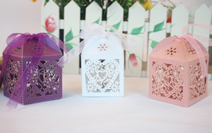 Candy Boxes Wedding Favors Hollow Chocolate Box Gifts Favor Wrap Holders Party Bags Decorative Laser Cut Supplies