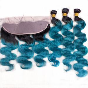 Цвет Ombre 1B Синий 13x4 Кружевной Фронтальный с Волосами 3 Пучки Темный Корень Объемная Волна 1B Синий 3 Пучка С Кружевным Фронтальным