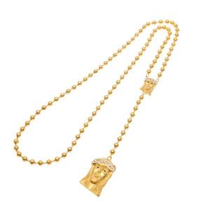 Catena del pendente di fascino della collana Christian oro placcato Uomini Gesù cattolico rosario Bead doppio Gesù lungo Bead religiosa