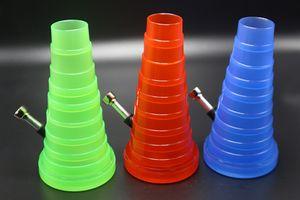 Plástico Viagem Cachimbo 3 cores disponíveis bolso dobrável Bong Aproximadamente 20 centímetros Altura Pipes Acrílico Água foguete Tobacco Bong Vs vidro Bongs