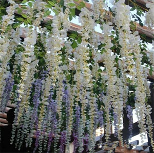 Romantik Yapay Çiçekler Simülasyon Wisteria Vine Düğün Süslemeleri Uzun Kısa Ipek Bitki Buket Odası Ofis Bahçe Gelin Aksesuarları