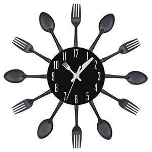 4 Colores Modernos Astilla Multicolor Cubiertos Cocina Reloj de Pared Cuchara Tenedor Relojes de Pared Creativos Mecanismo Nuevo Diseño Decoración para el hogar