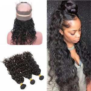 Water Wave Hair 3 Bundles mit Pre Gezupft 360 Lace Band Frontal Nasses Und Wellenförmiges Haarverlängerung Mit Full Lace Band Frontal