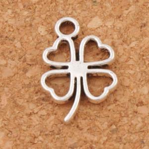 Open Clover Leaf Charms Pendentifs 300pcs / lot Antique Silver Jewelry Constatations Composants DIY L368 11.3x17mm Tibetan Silver
