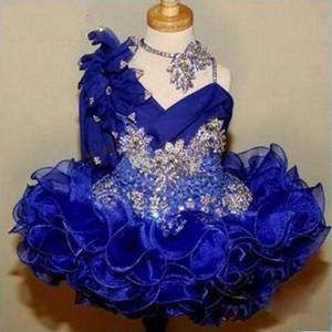 Vestidos del concurso Glitz de Cute Girl's 2017 Royal Blue Lace Flower Girl Dresses Hecho a mano Cuentas de flores Cristales Niveles Vestidos para niños pequeños BA