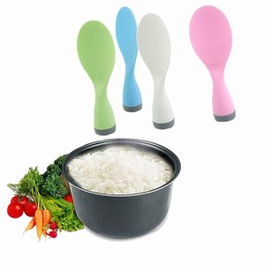 Wholesale- Practical Cute Tumbler Non Stick Upright Rice Scoop Plastic Meal Spoon Tablespoon Dinnerware Cooking Tools Korean Kitchen Gadget