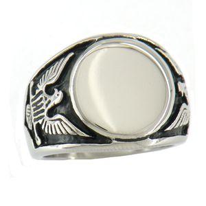 FANSSTEEL aço inoxidável do punk homens ou mulheres do vintage jóias Engravable Signet espírito da águia Anel PRESENTE PARA Brothers & Sisters FSR07W39