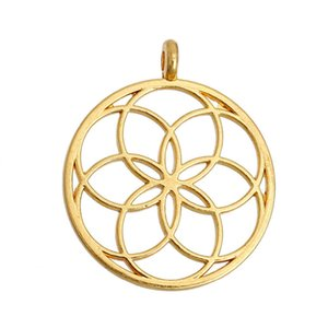"""Wholesale- DoreenBeads Flower of Life Alloy Seed Of Life Pendants Round Gold Plated/Silver tone Hollow 35mm(1 3/8"""") x 30mm(1 1/8""""), 5 PCs"""