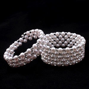 Mulheres Pérola De Cristal Multicamadas Winding Bracelet Moda Jóias Elastic Force Shining Bangle Lady Bons Presentes DC33