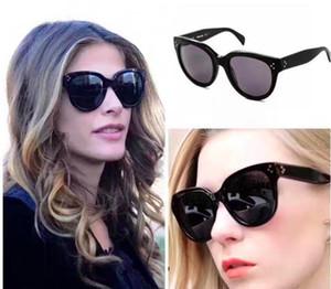 Kadınlar için moda Fransız tasarımcı güneş gözlüğü CE 41755 klasik siyah en kaliteli tam çerçeve sac çerçeve kaplı yansıtıcı polarize gözlük