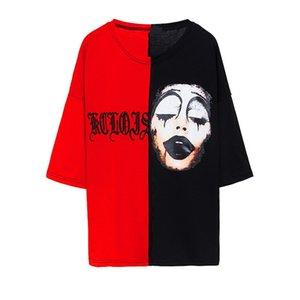 Malidaike Anime New Korea Ulzzang Loose Big Size Paar T-Shirt Weibliche Clown Joker Stitching Wild Stickerei Harajuku Cosplay Geschenk für Fans