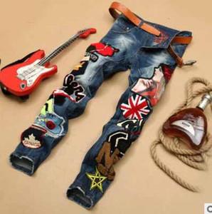 2016 Gros Hommes Jeans pant Ripped Skinny Micro chapitre Célèbre Marque Designer Slim Moto Denim patch paillettes broderie