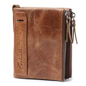 Çılgın at kafa tabakası Deri Çift Zip Cüzdan cüzdan erkek Deri Çanta Sikke