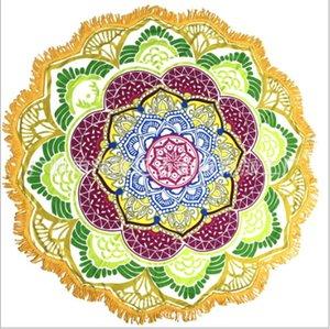 La nouvelle conception ronde Mandala Serviette de plage Tapestry Couverture extérieure Throw Yo-ga Tapis Bohême indien Polyester Serviette Serviette Imprimé Châle