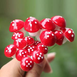 10 Pcs Artisanat Décoration De La Maison Accessoires Mini Champignon Rouge Jardin Ornement Miniature Plante Pots Dollhouse Diy Al3277