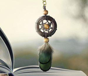 드림 캐처 Keychains 나무 드림 캐쳐 Keyring 가짜 깃털 펜던트 키 링 자동차 가방 장식 걸려 장식 DHL D359L