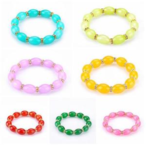 A estrenar Ágata Oval Crystal Beaded Jewelry Bracelet FB312 orden de la mezcla 20 piezas mucho Charm Bracelets