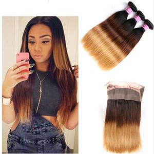 Honey Blonde # 1B 4 27 fasci di capelli umani diritti con 360 Frontal Full Lace Band con 4Pcs / Lot dei capelli del bambino